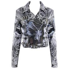 Mary Katrantzou Photoprint Leather Biker Jacket