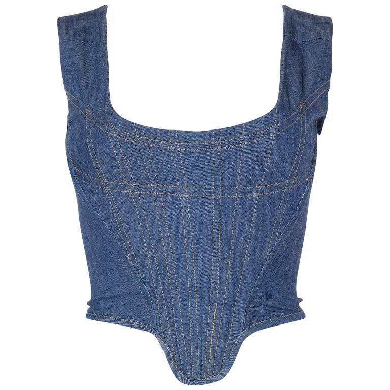 Vivienne Westwood Anglomania Denim Corset For Sale