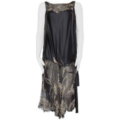 Art Deco 1920s Beaded Silk Chiffon Dress