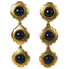 Chanel Sapphire Crackle Glass Pendant Earrings, Maison Gripoix
