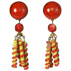 Louis Rousselet Unusual Lampwork Pate de Verre Earrings