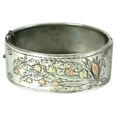 Victorian Mixed Metal Lily of the Valley Bangle