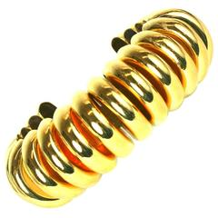 Art Deco Gilded Ribbed Cuff