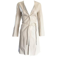 Vintage Giorgio Armani 1990s Ivory Beige Perforated Leather 90s Trench Jacket