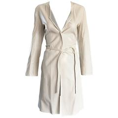 Vintage Giorgio Armani Collezioni Ivory Beige Perforated Leather Trench Jacket