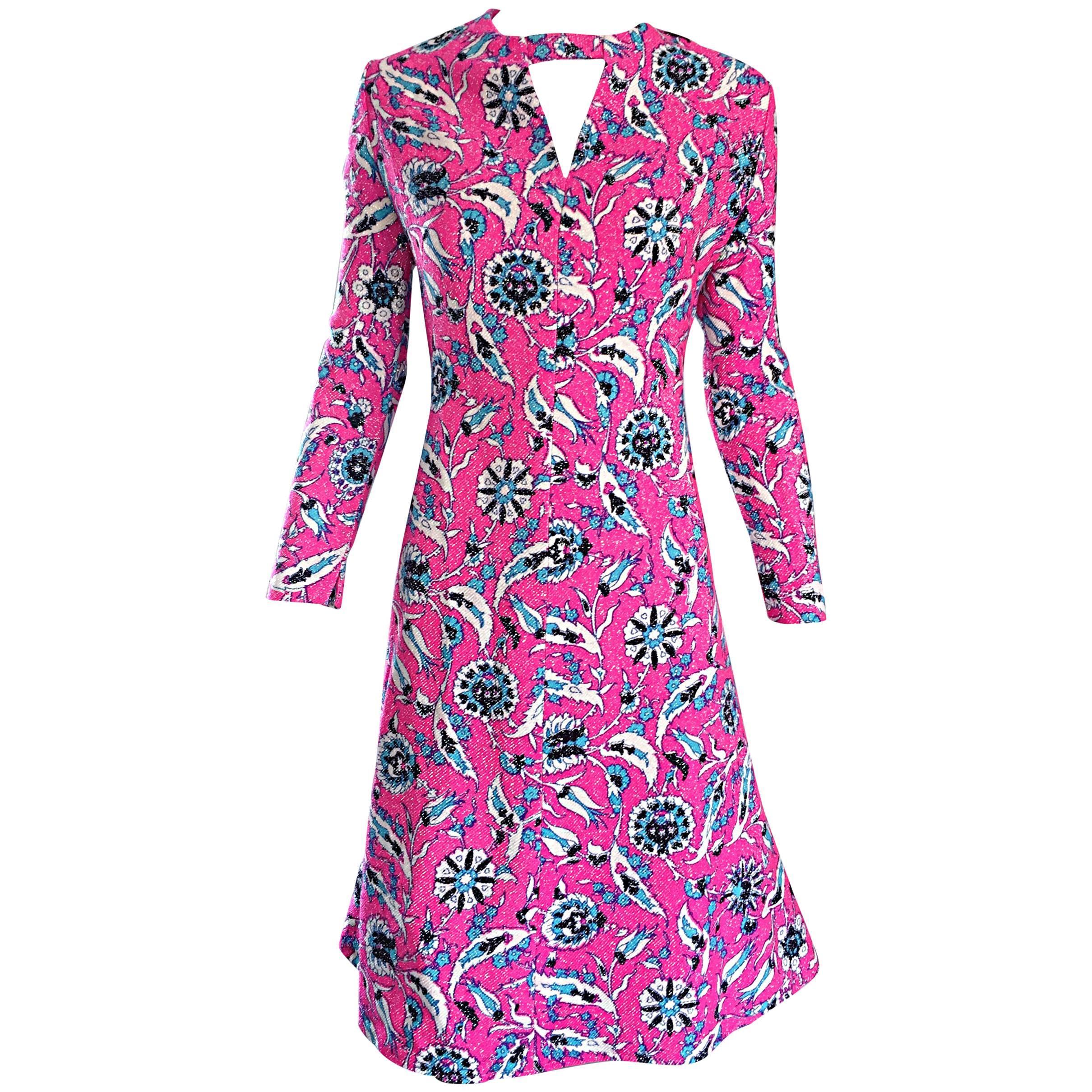 Vintage Adele Simpson Plus Size 1960s Hot Pink + Silver + Blue Metallic Dress