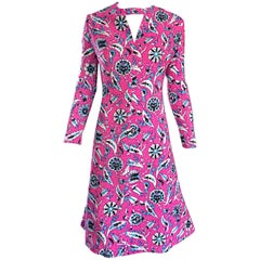 Vintage Adele Simpson Plus Size 1960s Hot Pink + Silver + Blue Metallic Dress