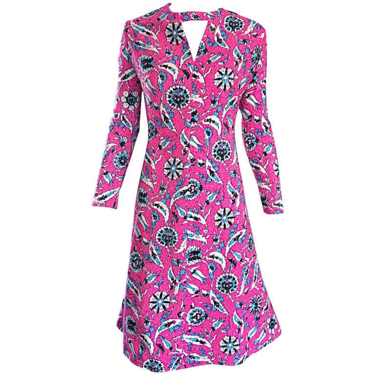 Vintage Adele Simpson Plus Size 1960s Hot Pink + Silver + Blue Metallic Dress For Sale