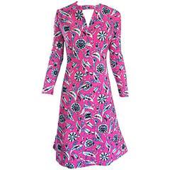 Vintage Adele Simpson Larger Size 1960s Hot Pink + Silver + Blue Metallic Dress