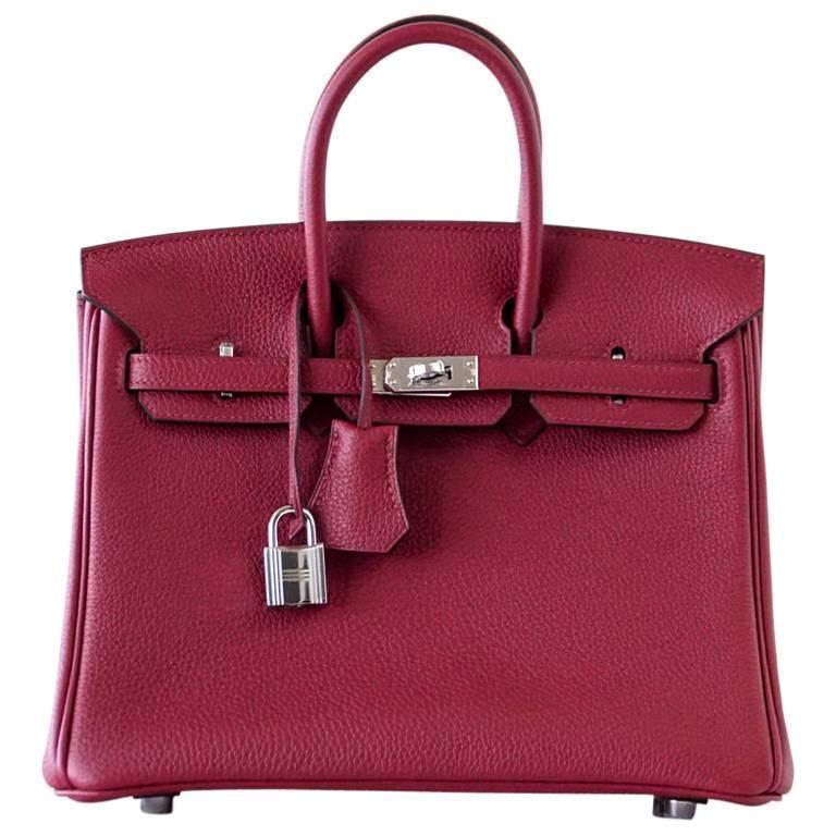 7f7f43ef0e Hermes Birkin 25 Bag Exotic Jewel Red Rouge Grenat Togo Palladium For Sale