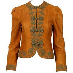 Oscar de la Renta Vintage 1970s Suede Leather Jacket with Green Cord Embroidery