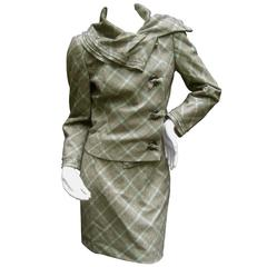 Carolina Herrera Brown Plaid Wool Skirt Suit Made in Italy