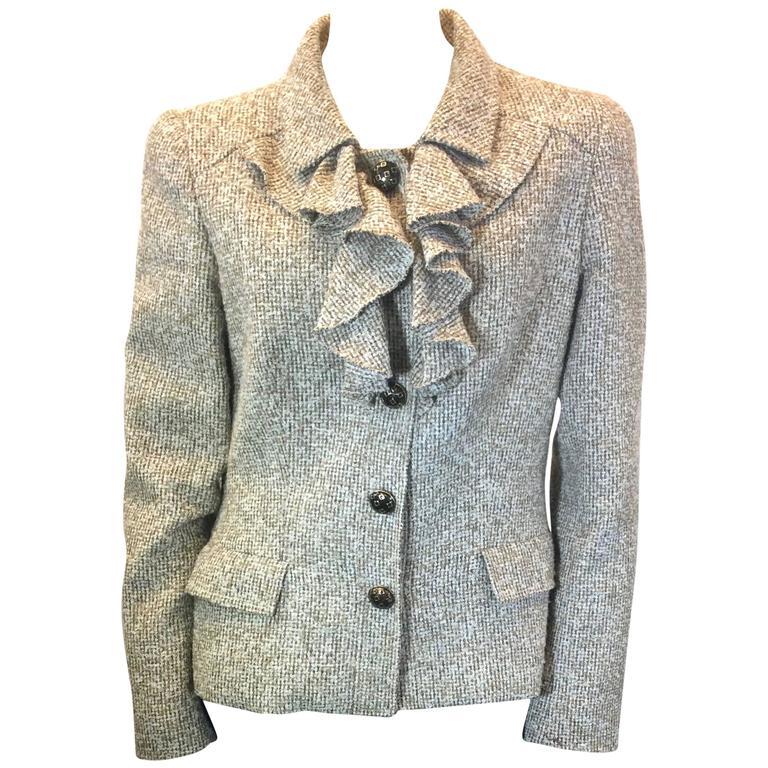 Oscar De La Renta Tan Alpaca Tweed Ruffle Jacket 1