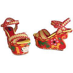 Rare Dolce & Gabbana Runway Tiki Hand Painted SS13 Never Worn Wedges / Shoes 37