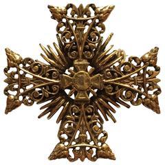 1960s Accessocraft Goldtone Maltese Cross Brooch