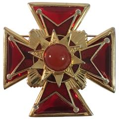 1960s Accessocraft Goldtone and Red Glass Maltese Cross Brooch