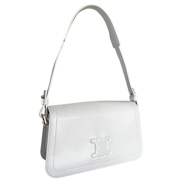 Vintage Celine New White Leather Structured Shoulder Bag Convertible Clutch