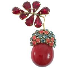 1950s Schreiner Goldtone Red Acorn Brooch