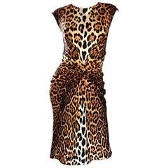 Christian Dior von John Galliano Frühjahr 2008 Leopard Druck Seiden Kleid Größe 10