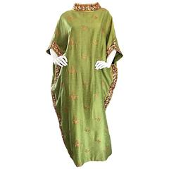 Bergdorf Goodman 1960s Chartreuse Green Butterfly Silk Shantung Vintage Caftan