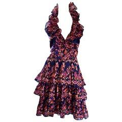 Christian Dior von John Galliano Laufsteg Frühjahr 2009 Rüschen Größe 10 Nackenhalter Kleid