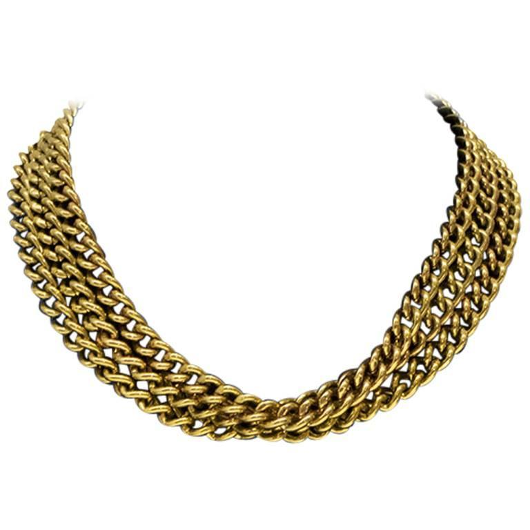 1980's Givenchy Gold Triple Strand Chain Choker For Sale