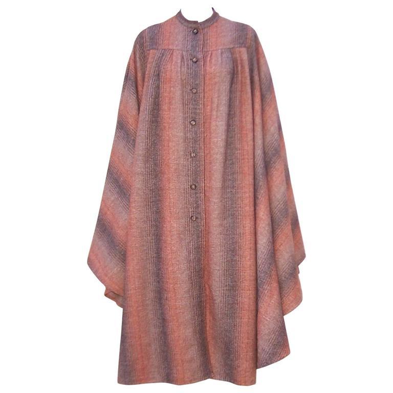 1970's Lanvin Haute Couture Autumnal Wool Tweed Cape