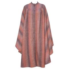 1970's Lanvin Haute Couture Autumnal Wool Tweed Cape