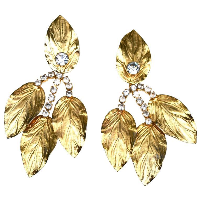 70s Kenneth Jay Lane Leaf Earrings For Sale