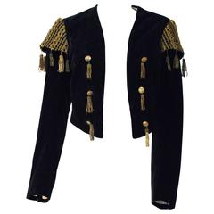 20s Black Velvet Matador Bolero Jacket with Gold Metal Tassels & Embroider