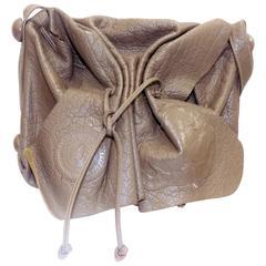 Rare color Carlos Falchi's signature cross body drawstring large bag