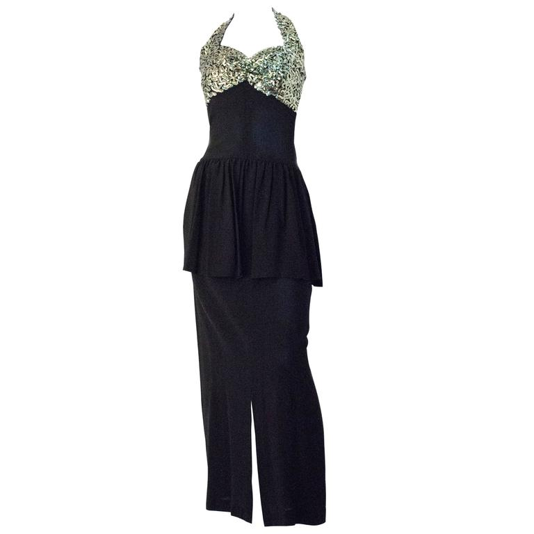 40s Black Crepe Halter Evening Gown with Green Sequined ...