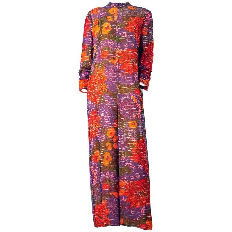 60s Purple & Orange Pauline Trigere Floral Long Sleeve Silk Chiffon Dress