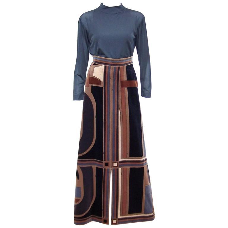 Ultra Mod C.1970 Emilio Pucci Silk Top With Velvet Maxi Skirt