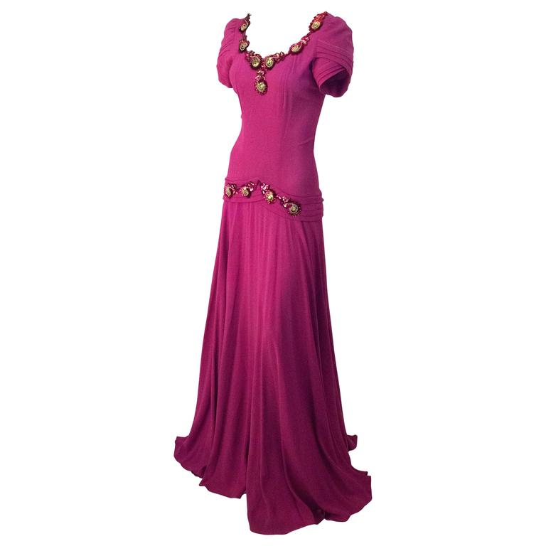 40s Magenta Bias Cut Crepe Gown with Sequined Appliqué