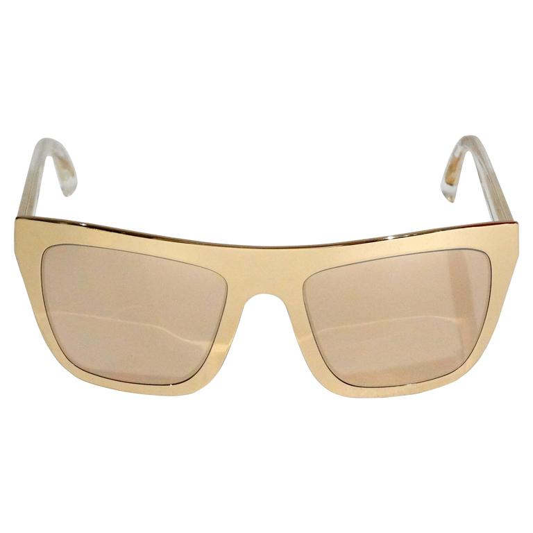 31fb76f857cc 2012 SS Dolce & Gabbana 18ct Plated Gold Mirror Framed Sunglasses For Sale