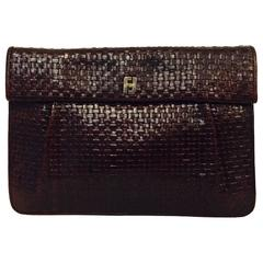 Vintage Fendi Plaited Burgundy Leather Flap Clutch