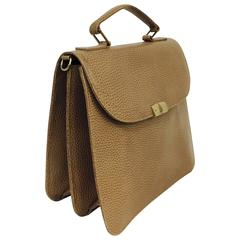 Mark Cross Warm Taupe Textured Leather Gusseted Hand Bag w Shoulder Strap