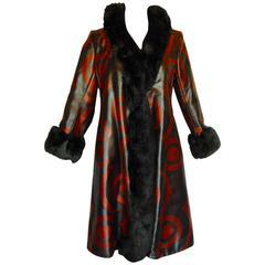 Bill Blass for Bond Street Woven Silk Coat with Bullseye Motif and Mink Trim 60s