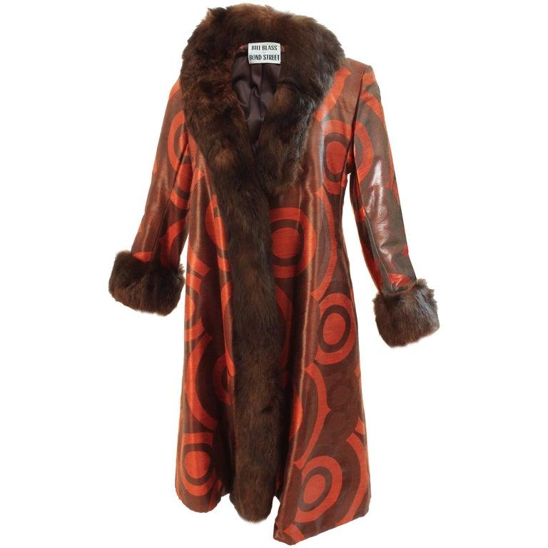 60s Bill Blass for Bond Street Woven Silk Coat Mink Trim Mod Circles Motif Sz M