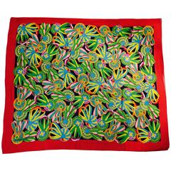 Hermes Cotton Giant Scarf Featuring Decorative Equestrian Show Ribbons