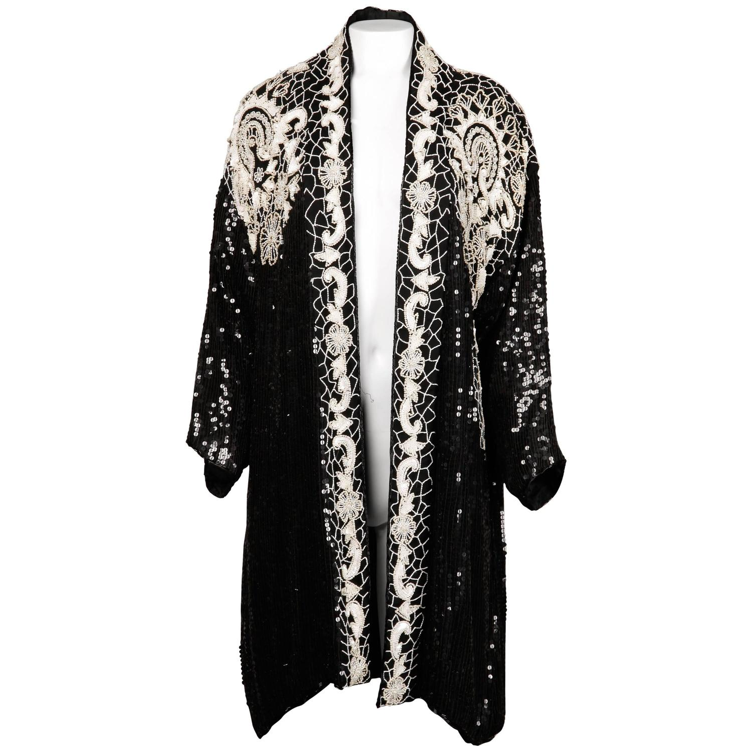 1980s Vintage Sequin Beaded Silk Duster Coat or Kimono Jacket with ...