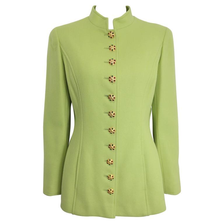 Chanel Green Wool Gripoix Jacket