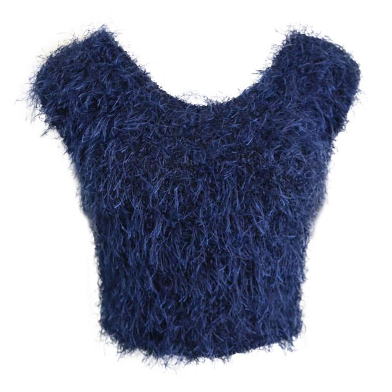 Christian Dior Blue Feather Cropped Top  1