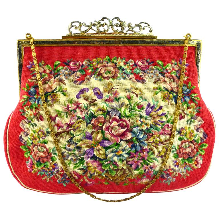 Vintage Floral Tapestry Handbag For Sale