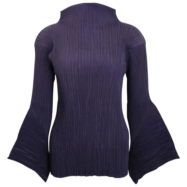 Issey Miyake Purple Pleated with 3D sleeves Top