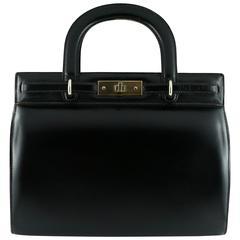 Lancel Vintage Black Box Leather Handbag Circa 1960
