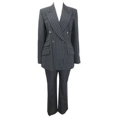 Gucci by Tom Ford Black and White Pinstripe Wool Double Breasted Pants Suit