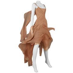 Alexander McQueen nude silk chiffon 'Irere' evening gown, circa 2003