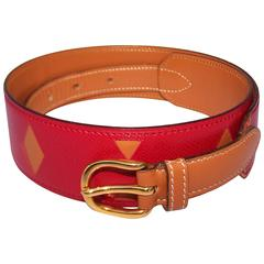 Two Tone 1988 Hermes Rouge Casaque & Gold Camel Leather Cut Work Belt